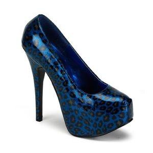 Blue pearl lysed cheetah print heels